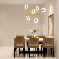 Iskandinav kauçuk ahşap moleküler lamba yaratıcı tasarım avize basit akrilik halka restoran dekorasyon LED ayarlanabilir fikstür|Kolye ışıkları|   -