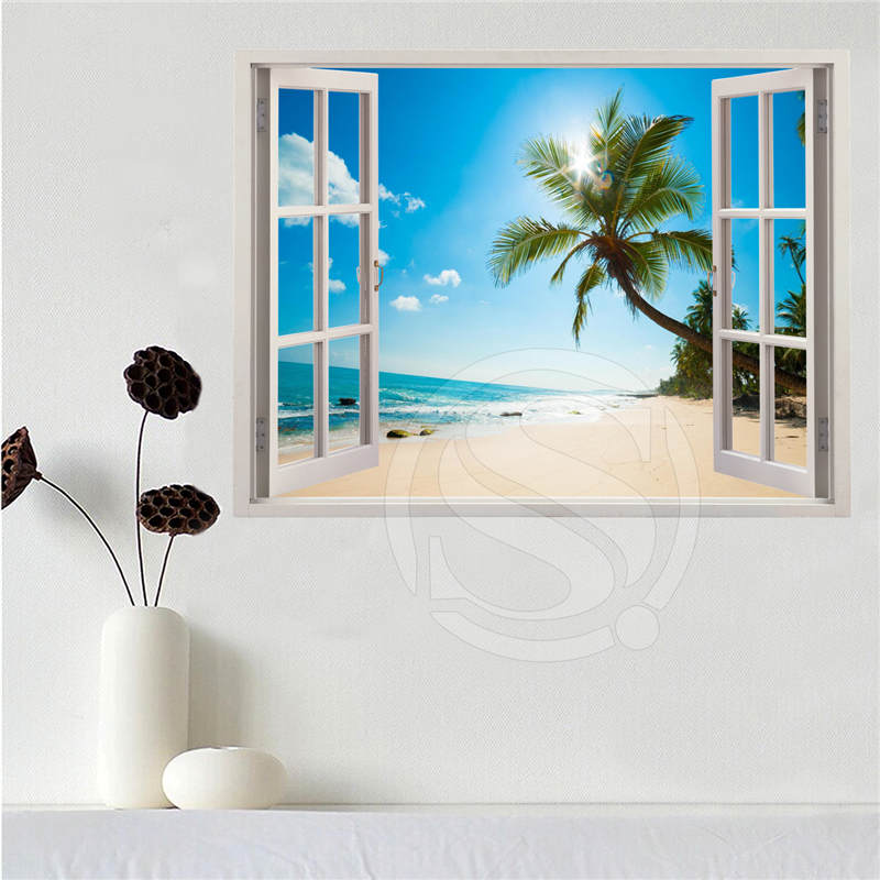 Custom canvas poster Beach of the Caribbean in the window poster cloth fabric wall poster print Silk Fabric Print SQ0611-LQ09 image
