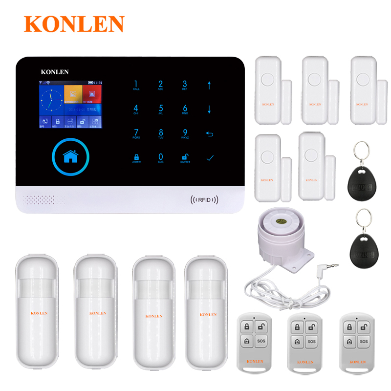 KONLEN Voice WIFI GSM SIM Home Security Burglar Alarm System RFID LCD Touch Wireless SMS Call