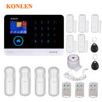 KONLEN 音声 Wifi GSM SIM ホームセキュリティ盗難警報システム、 Rfid Lcd タッチワイヤレス Sms コール App アラートアンドロイド IOS ハウススマートサムスンギャラクシー