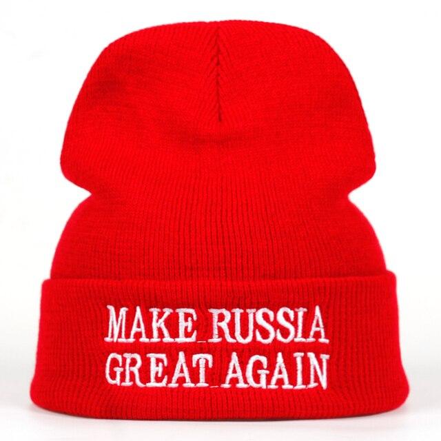 2a24531b495 MAKE RUSSIA GREAT AGAIN winter Hat men women cotton Beanies Skullies patriot  Hip hop warm cap