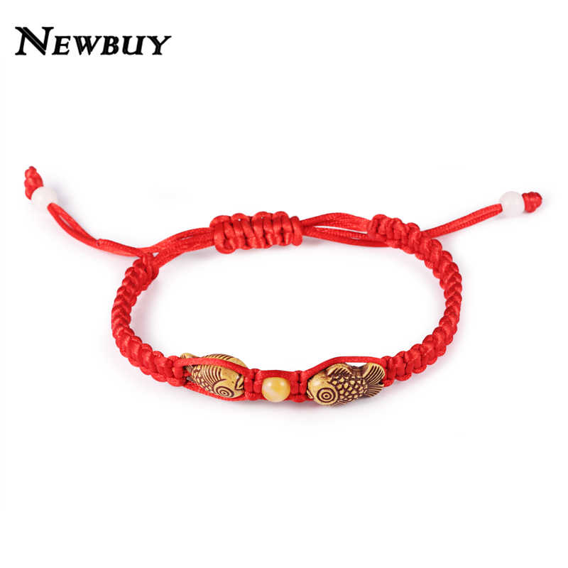 NEWBUY Fashion Chinese Style Handmade Red Rope Double Wood Fishes Charm Bracelets For Women Men Best Gift For Baby Bracelet
