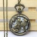 Bronze Wolf Dog Hollow Quartz Pocket Watch Necklace Pendant Women Men's Gifts Relogio De Bolso P911