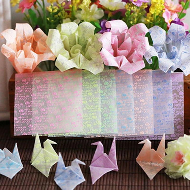 Papier Origami Artisanal Transparent Lumineux 75mm Lot De 24 Pieces Melange De Couleurs Amour Cœur Fleur Trefle Aliexpress