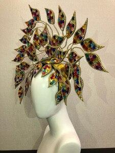 Image 4 - ברזיל ריו ספרדית קובה סנטיאגו הוואנה ונציה Dionysia קרנבל לצוף מסכת שמלת masque כדור תלבושות סמבה נוצות פלומת Headd