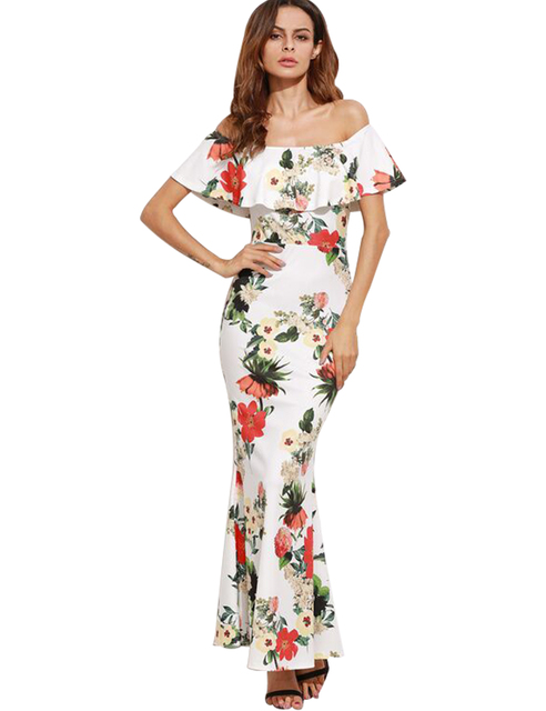 be65335527 Sexy Off Shoulder Maxi Dress White Slash Neck Floral Print Ruffle Dress  Women Elegant Sheath Party Evening Club Dresses Summer