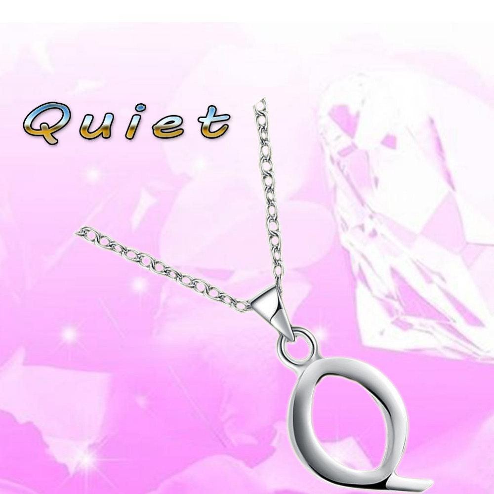 Collare Q Alphabet Letter Pendant Necklace Jewelry Silver Color ...