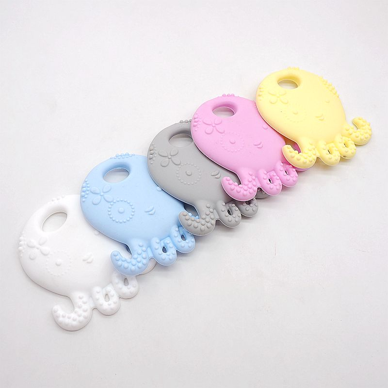 Купить с кэшбэком Chenkai 20PCS BPA Free Safe and Natual Silicone Octopus Teething Chewable Pendant Nursing Necklace Baby Pacifier Dummy Teether