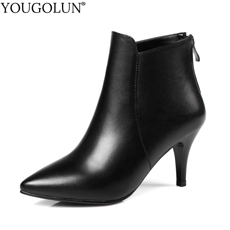 YOUGOLUN Women Ankle Boots 2018 New Style Autumn Winter Genuine Leather Thin Heel 7cm High Heels Pointed toe Black Shoes #Y-132 yougolun women ankle boots 2018 autumn winter genuine leather thick heel 7 5 cm high heels black yellow round toe shoes y 233