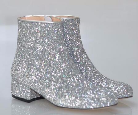 Fashion T stage Women Glitter Ankle Boots Square Heels Sparkly Booties Fall  Winter Feminino Botas Red Silver Gold Shoes Woman-in Ankle Boots from Shoes  on ... decf02b3851f