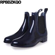 слипоны обувь 2017 высокое качество синий дождь короткая ботильоны плоские водонепроницаемый Круглый носок ботинки новый челси мода китайский женская женский