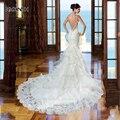 MM23 Vestido de noiva Sexy Backless Lace Mermaid Wedding Dress 2017 New Arrival Bead Spaghetti  Straps Ruffle Vestidos de noiva