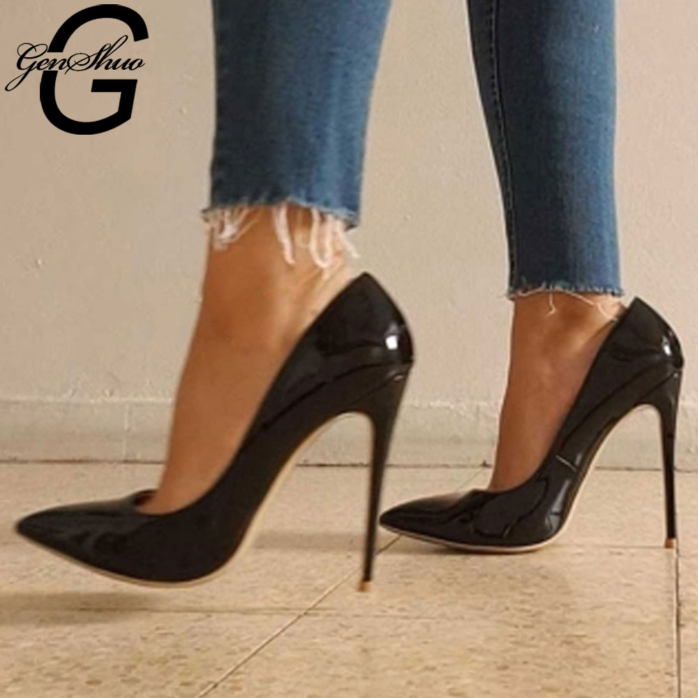 GenShuo High Heels 12cm Black Pumps Silver High Heels Wedding Shoes Nude Pumps Bridal Shoes Estiletos Mujer 2019 Women Pumps