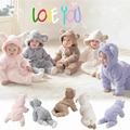 Invierno caliente de manga Larga de coral polar ropa de bebé footies con cola linda Del mono del Bebé ropa del bebé en general para 0-12mongths