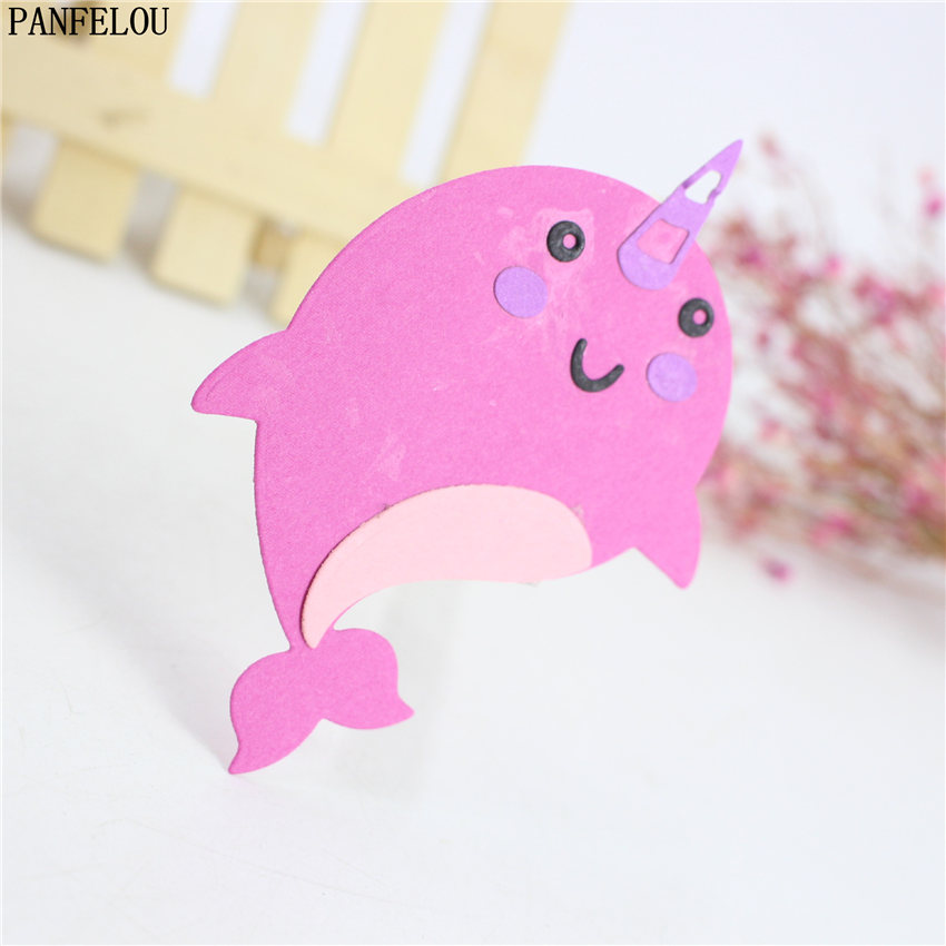 PANFELOU Narwhal whale puzzle Scrapbooking DIY album cards paper die metal craft stencils punch cuts dies cutting