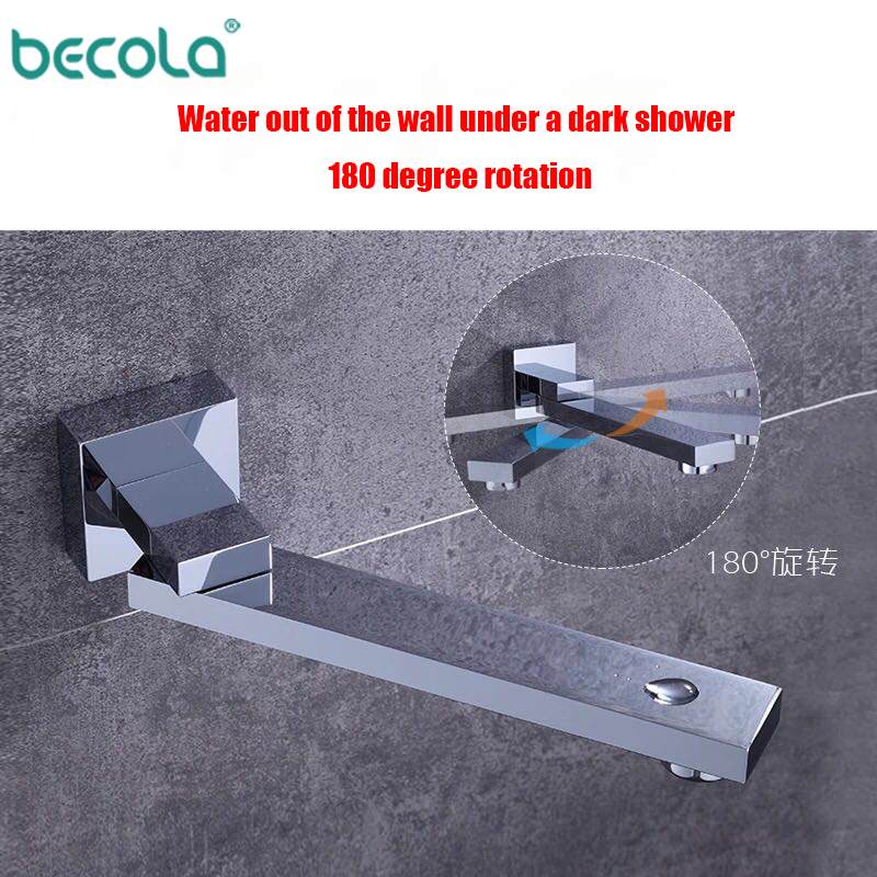BECOLA Spout Chrome Finish Brass Spout Bibcocks 180 Degree Rotation Wall Mounted Bathroom Tub Spout Square Wholesale And Retail