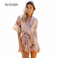 ELSVIOS Hot Summer Rompers Women Floral Print Jumpsuits V Neck Short Sleeve Ruffle Overalls Casual Bandage