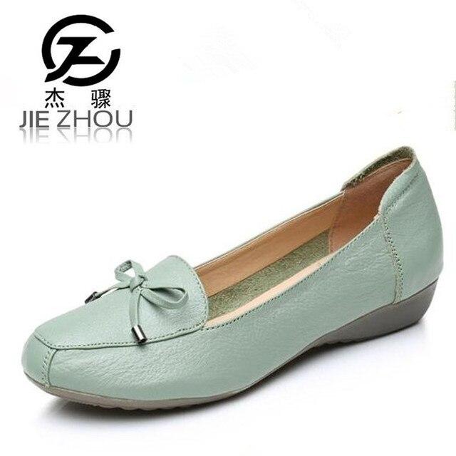 quality design 4161c ff597 US $19.67 31% OFF Plus Größe 34 41 neue herbst Frauen Schuhe Aus Echtem  Leder weichen boden Faulenzer schwarz, blau mit schuhe ältere ...