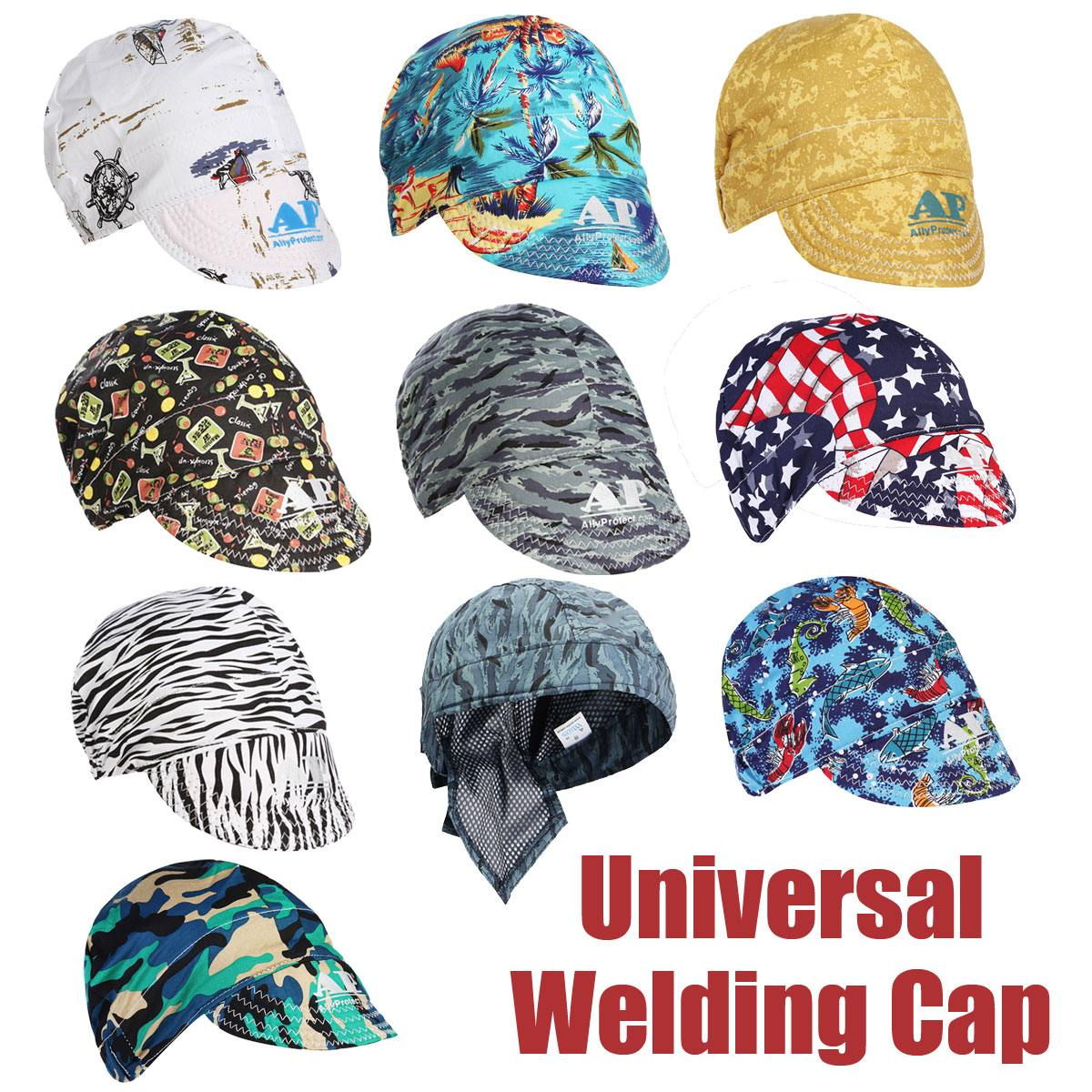 GREEN BACK GROUND FABRIC WELDING CAP WITH  BANDANA DESIGN  WITH