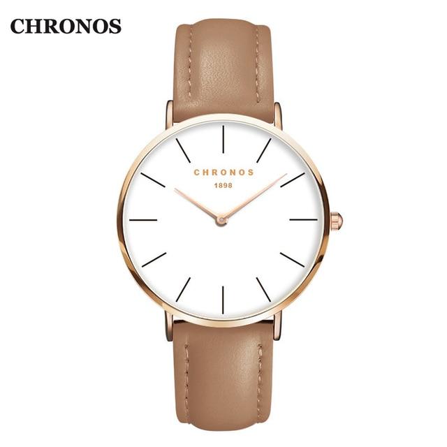 CHRONOS 1898 Unisex Watches Luxury Mens & Women Watch Rose Gold Leather Quartz W