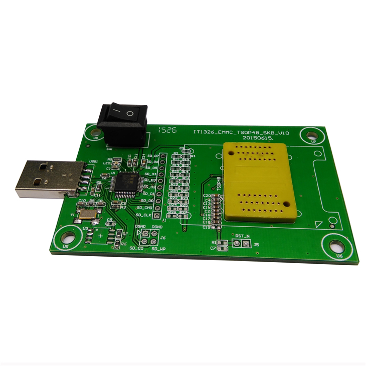 KZT PCB board with USB interface for eMMC 153/169 to dip 48 emcp 162/186 to dip 48eMCP 221 to dip 48clamshell socket mip390 dip 7