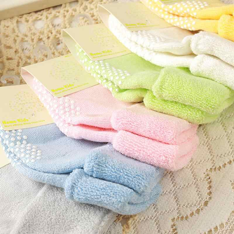 3pairs/lot 0-2 Years Baby Boy and Girls Cotton Baby Socks Autumn and Winter Thick Terry Baby Socks Solid Color Socks