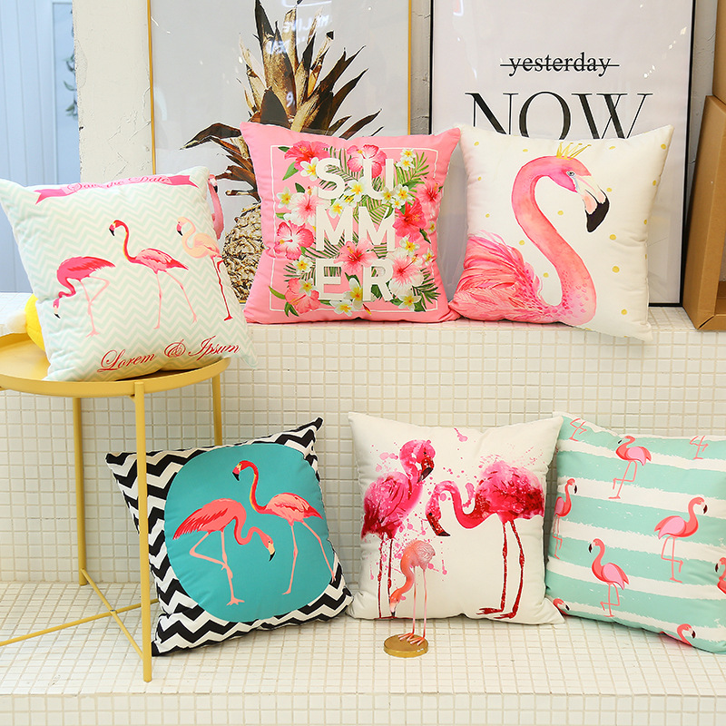 Cute Flamingo Cushion Pillow Case Flamingo Party Bedroom Sofa Home Decoration accessories Birthday/Wedding Favors and Gifts 3