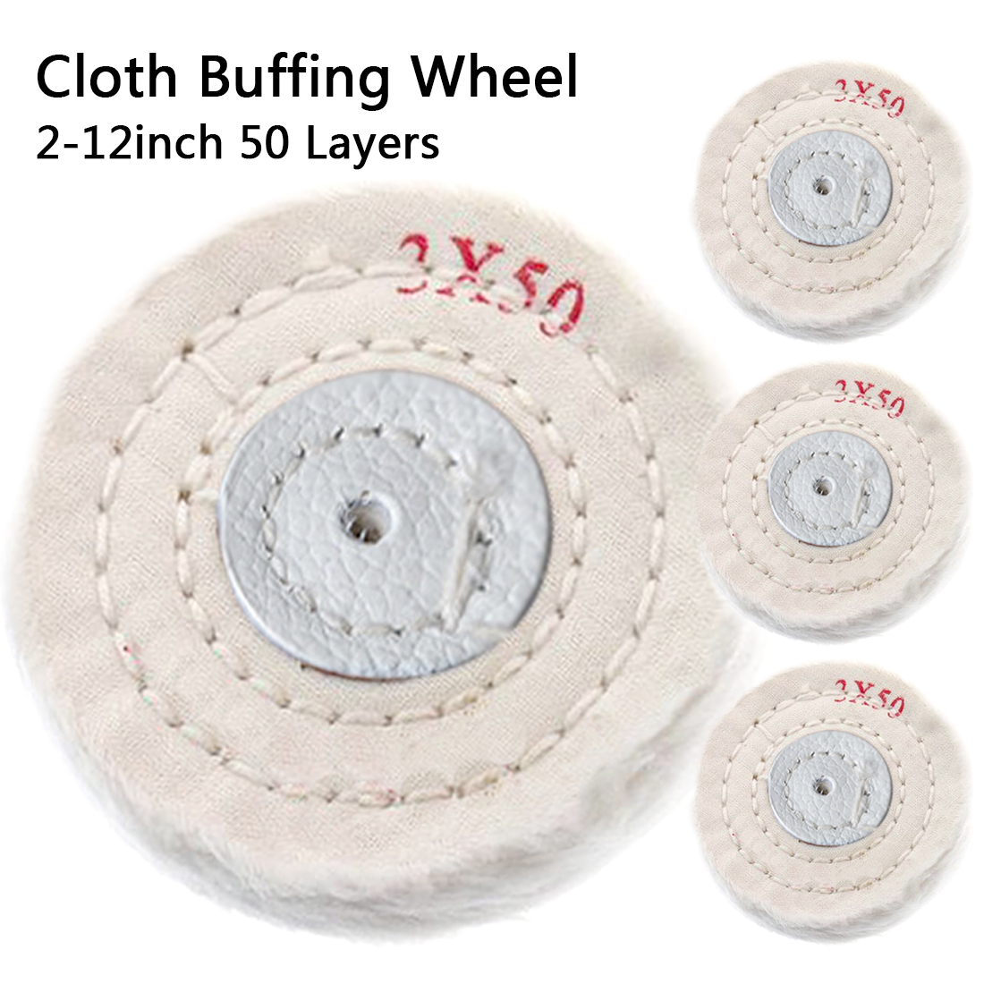 Cotton Polishing Wheel Cloth Buffing Wheel 2-12 Inch Arbor Buffer Mirror Polish White Round Wheel 50 Layers Abrasive Tools