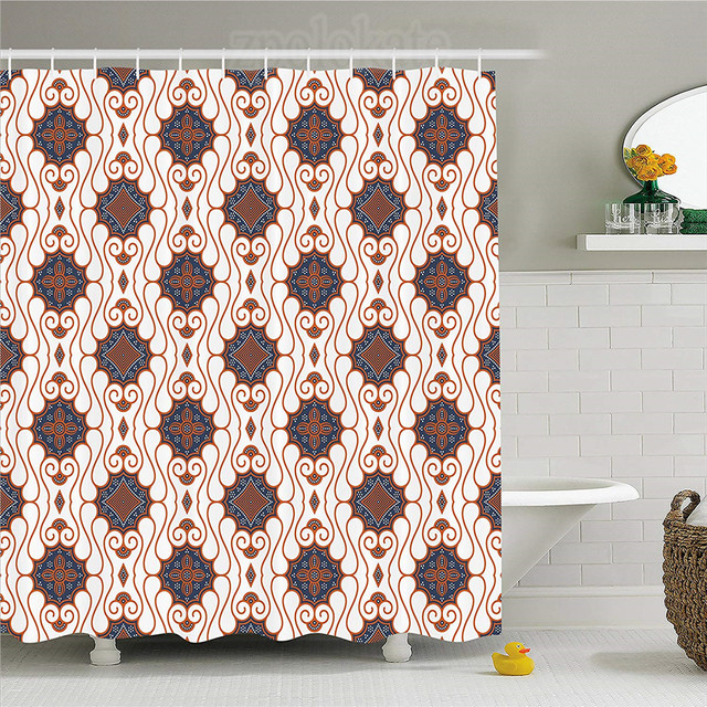 Batik Decor Shower Curtain Retro Traditional Indonesian Inspred Spouted Liquid Flowing Colored Art Fabric Bathroom Set