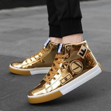 Fashion Hip Hop Shoes Men 2019 Spring Fashion Sneakers Gold High Tops Male Black Vulcanized Shoes Lace-Up Daily Flats Hombres цена 2017