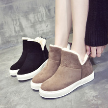 Europe 2018 Winter New Women Boots Snow Boots Black Platform Ankle Fashion Casual Shoes Martin Boots Plush Warm Non-slip Slip-on недорого
