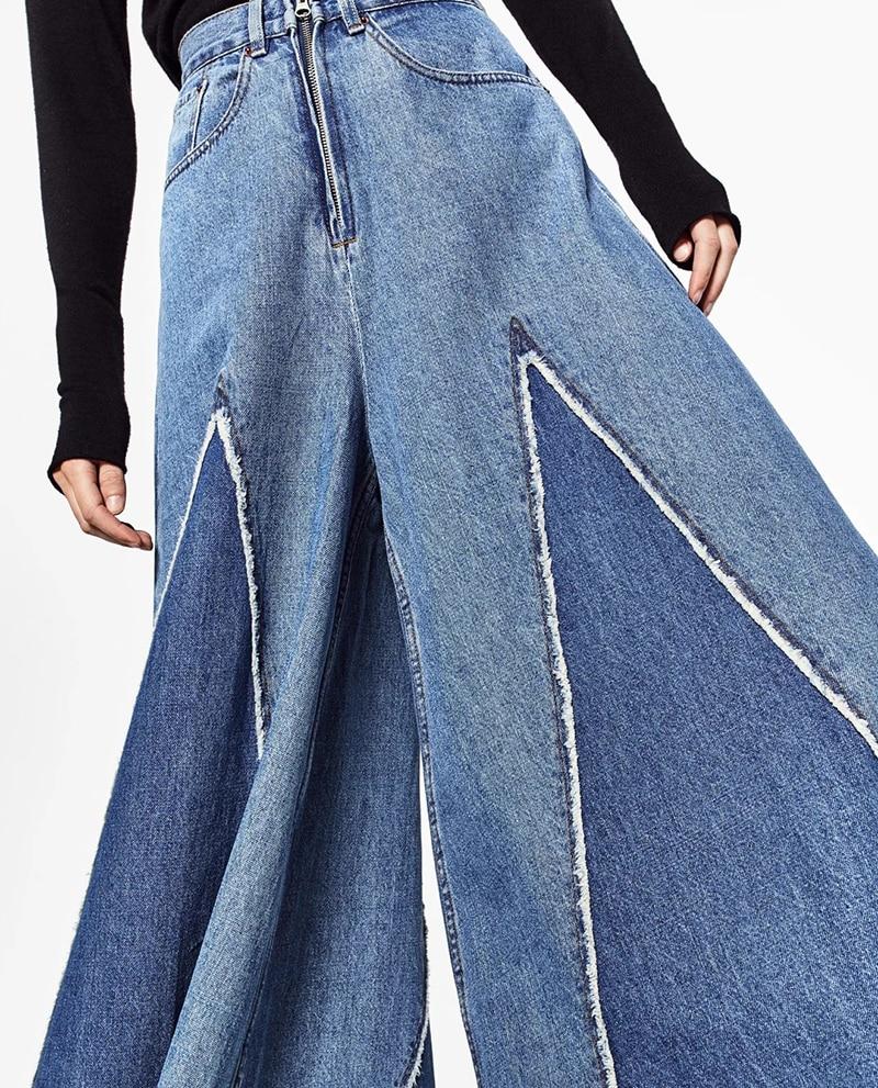 Pantalones vaqueros de cintura alta Vintage auto Duna 2018 pantalones de pierna  ancha pantalones Palazzo pantalones de mezclilla Casual para mujer ... e48dc2221281