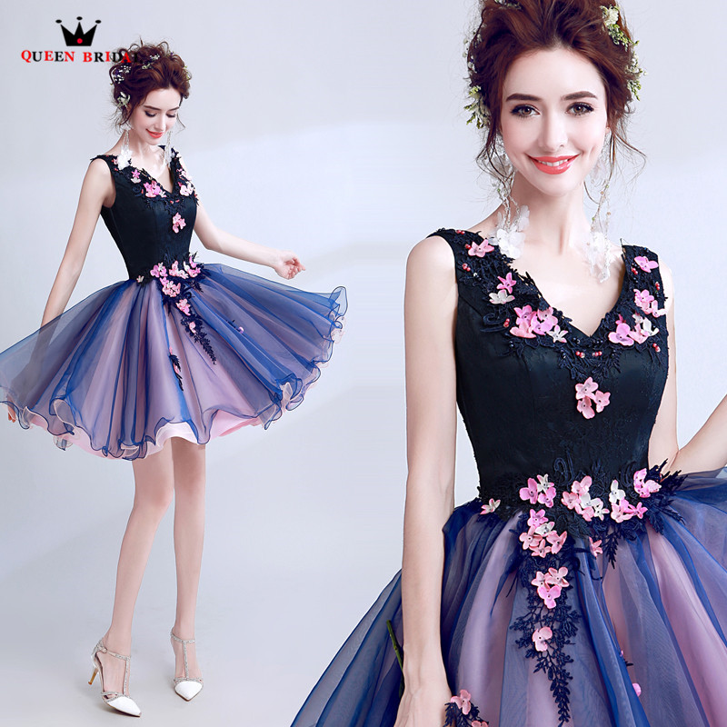 QUEEN BRIDAL Short   Evening     Dresses   A-line V-neck Flowers Tulle Prom Party   Dresses     Evening   Gowns Vestido De Festa LS53