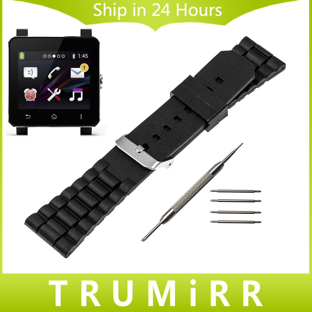 24mm Silicone Rubber Watch Band for Sony Smartwatch 2 SW2 Replacement Stainless Steel Buckle Strap Bracelet