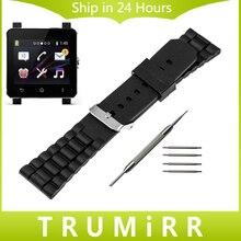 24mm caucho de silicona watch band para el sony smartwatch 2 sw2 reemplazo correa de hebilla de pulsera de acero inoxidable con barra de herramientas de primavera