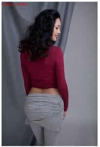 Image 5 - חדש כותנה לנשים בפועל תחרות ריקודי בטן בגדי V צוואר למעלה סרוג קצר מכנסיים שחור אפור