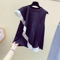 Spring Summer Black Tshirt 2019 New Korean Girls Ladies Sleeveless Lotus Leaf Edge Temperament Slim T shirt T Shirts Femme