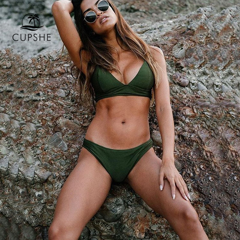 CUPSHE Army Green Solid Bikini Set Women Triangle Sexy Two Pieces Swimwear 2018 Girl Plain Beach Bathing Suit Swimsuits cupshe floral print high waist bikini set women reversible heart neck halter two pieces swimwear 2018 beach bathing swimsuits
