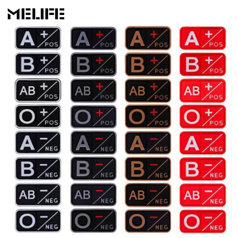Red Red Souvenirs PVC A+ B+ AB+ O+ Positive A- B- AB- O- Negative Blood Type Group Patch Military Tactical Morale Rubber Badges