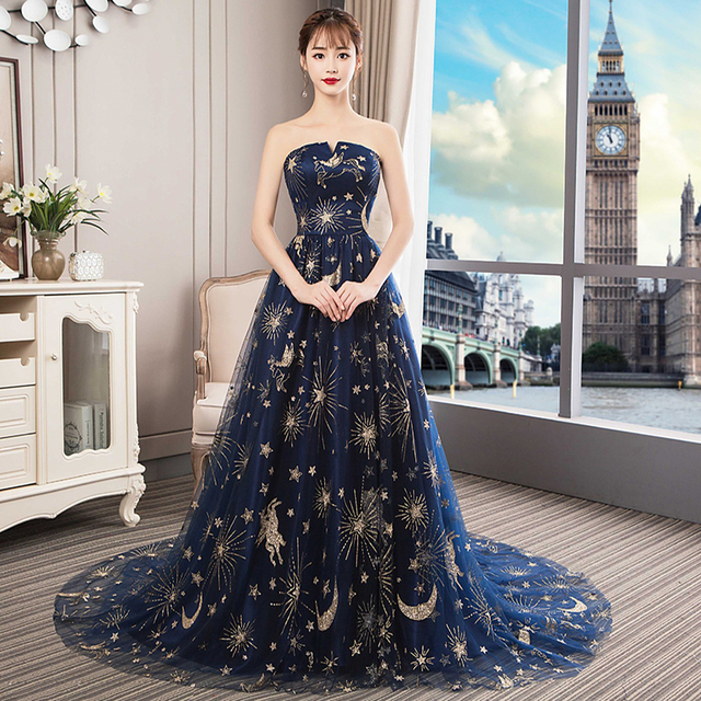 Formal Prom Dresses 2019 Strapless Wedding Party Evening Gown With Train Sexy Long Prom Dress 4