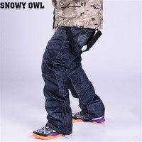2015 New Ski Trousers Unique Casual Denim Suspenders Ski Jeans Waterproof Breathable Warm Skiing And Snowboarding