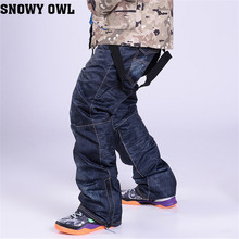 2016 New Ski Trousers Unique Denim Suspenders Ski Waterproof Breathable Warm Skiing And Snowboarding Pants