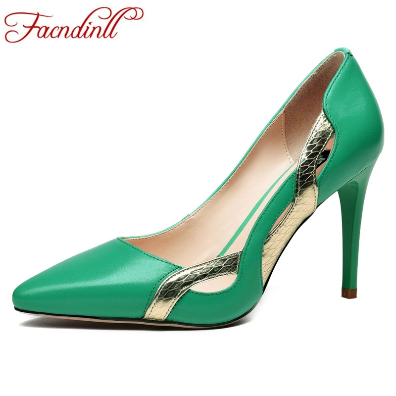 FACNDINLL new design women spring summer pumps genuine leather shoes high heels sexy pointed toe cut-outs party wedding shoes new 2017 spring summer women shoes pointed toe high quality brand fashion womens flats ladies plus size 41 sweet flock t179