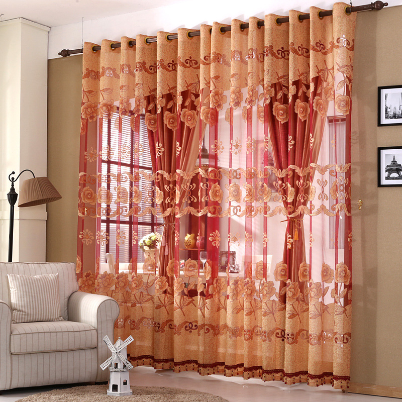 Polyester Window Curtains Sheer For Living Room Modern Voile Kitchen  Curtain Panel Burnout Floral Red 1pcs
