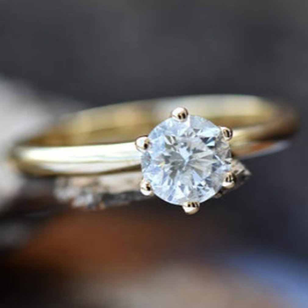 Для Николь ювелирные изделия классические со стразами кольцо алмаз один камень кольцо арт-деко обручальное кольцо золото платина ювелирные изделия подарок