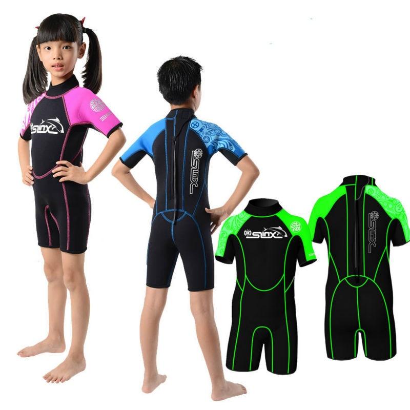 Slinx 2mm neoprene shorty kids wetsuit for boy rash guard girl swim scuba diving wet suit for Children s swimming pool wetsuit