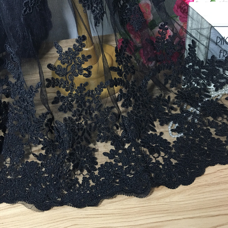 1Meter Black Cord African Lace Mesh Net Embroidery Fabric Sew Wedding Dress Robe Fabric 135CM in Fabric from Home Garden