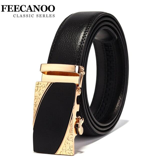 5fceaf6ef1468e5 Feecanoo известный бренд пояса Для мужчин Одежда высшего качества из натуральной  кожи роскошные кожаные Ремни для