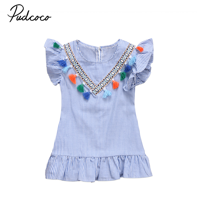 Pudcoco Cute Toddler Kids Baby Girl Summer Dress Ruffles V-neck Tassel Striped Princess Girls Party Dresses Sundress Clothes