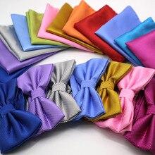 Luxury 2 PCS Mens Solid Color Pocket Square Bows Tie Set Adj